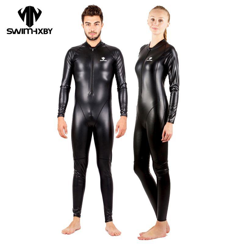 HXBY Warm PU Waterproof Full Body Swimsuit Men Plus Size Swimwear Women One Piece Competitive Swimming Suit For Women Bodysuit