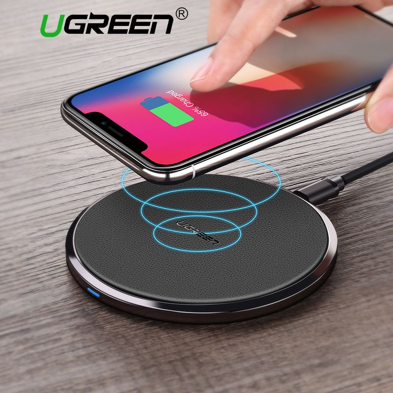 Ugreen 10W Qi Wireless Charger for Samsung S8/S8+/S7 Edg Fast Wireless Charging  for iPhone 8/X Nexus5 Lumia 820 USB Charger Pad