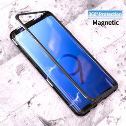 Métal Magnétique Adsorption Cas Pour Samsung Galaxy S8 S9 Plus S7 Bord Trempé Verre Aimant Boîtier En Aluminium Pour Samsung Note 8 capa