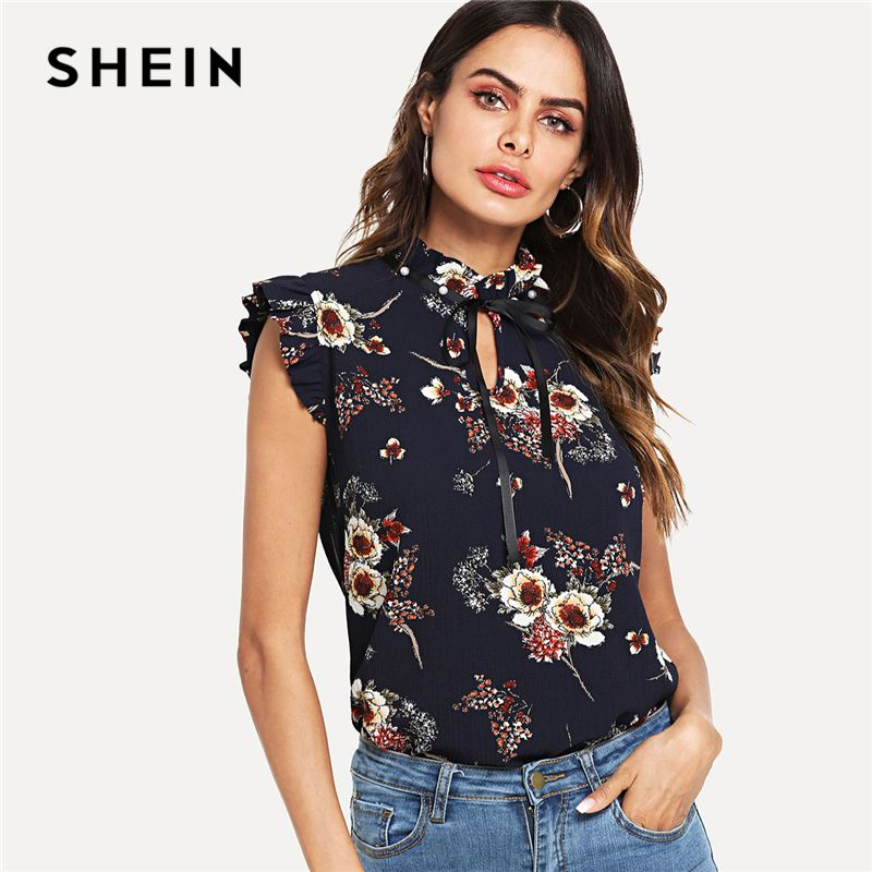 SHEIN Navy Weekend Casual Pearl Embellished Frill Trim Floral Tie Neck <font><b>Stand</b></font> Collar Blouse Summer Women Going Out Shirt Top
