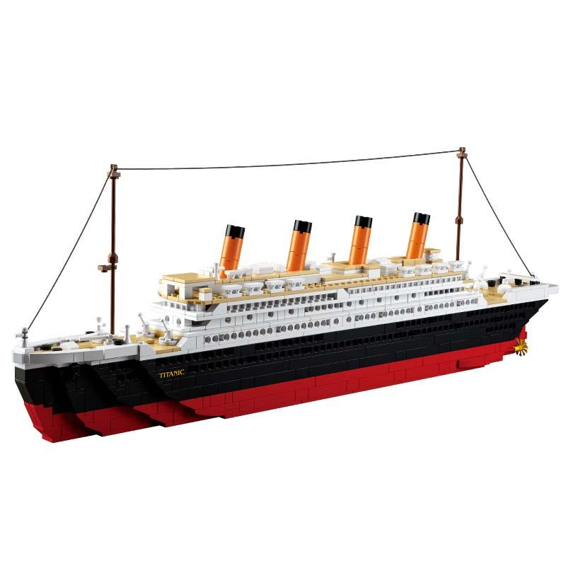Model building kits compatible with lego city Titanic RMS <font><b>ship</b></font> 3D blocks Educational model building toys hobbies for children