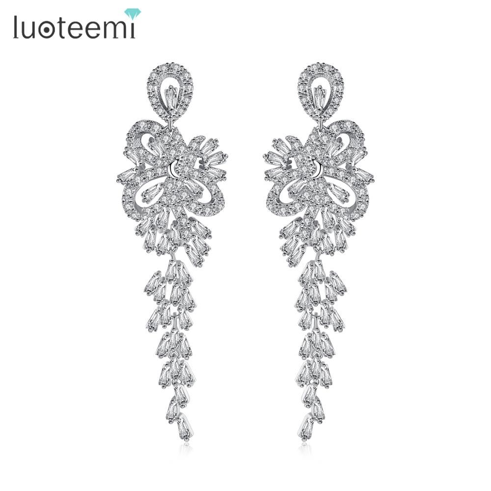 LUOTEEMI nouveauté qualité luxueux romantique CZ longue pendaison lustre boucles d'oreilles pour Mariage de mariée bijoux de fête de Mariage