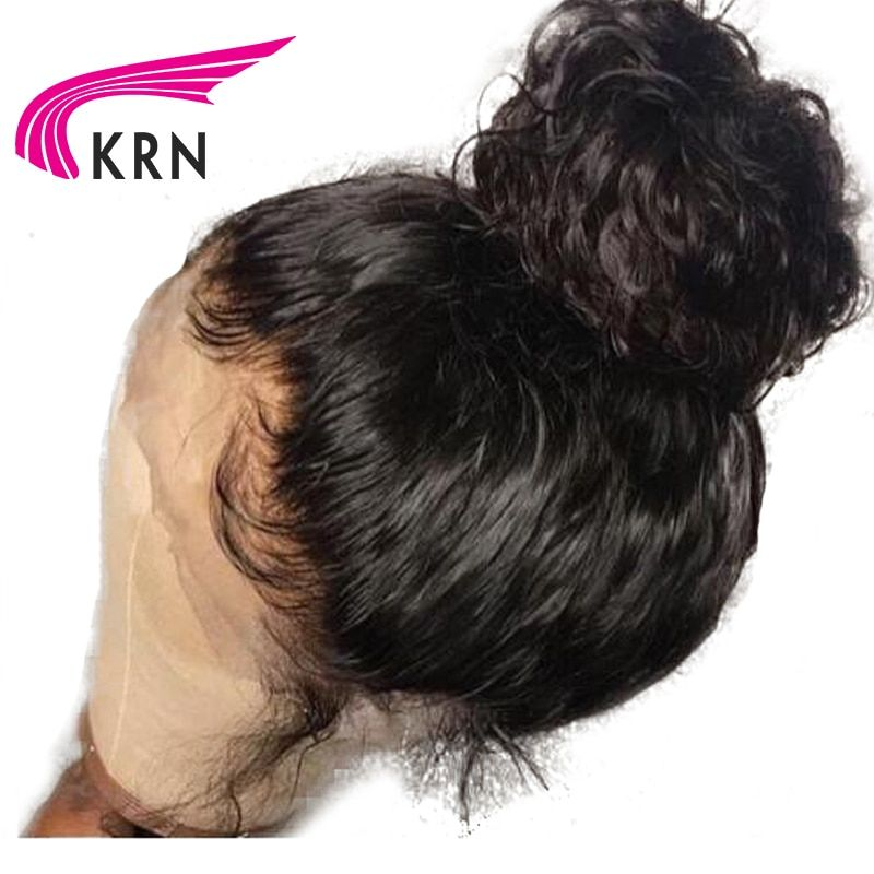 KRN 180 Density 360 Lace Frontal Wigs With Baby Hair Curly Remy Pre Plucked Natural Hairline Brazilian Human Hair Wig Full End