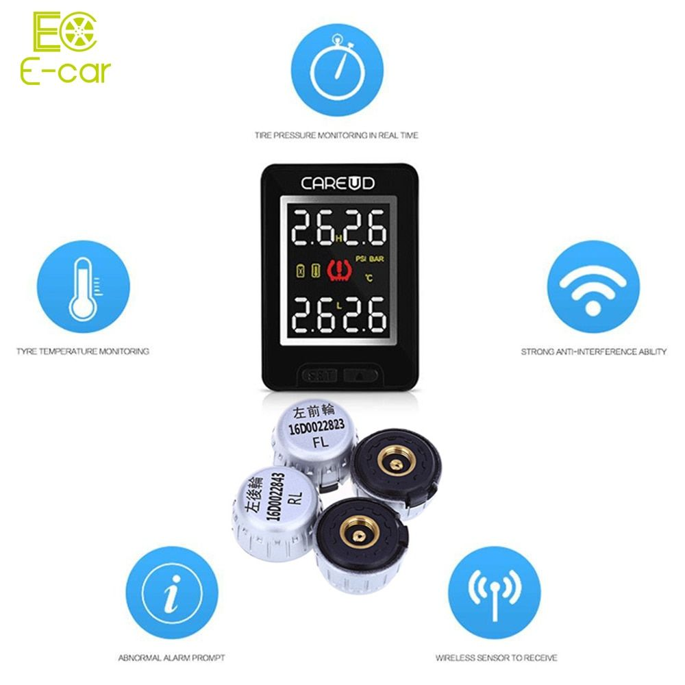 Portable 4 External Sensors Car TPMS U912 Tire Pressure Monitoring Alarm System Car PSI BAR Auto Tyre Diagnostic Tool for Toyota