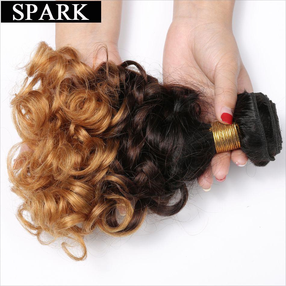 Étincelle 1B/4/27 3 Tons Ombre Malaisienne Bouclés Cheveux Armure Faisceaux 100% Cheveux humains 10-26 Pouces 1/3/4 pièces Remy Extensions De Cheveux