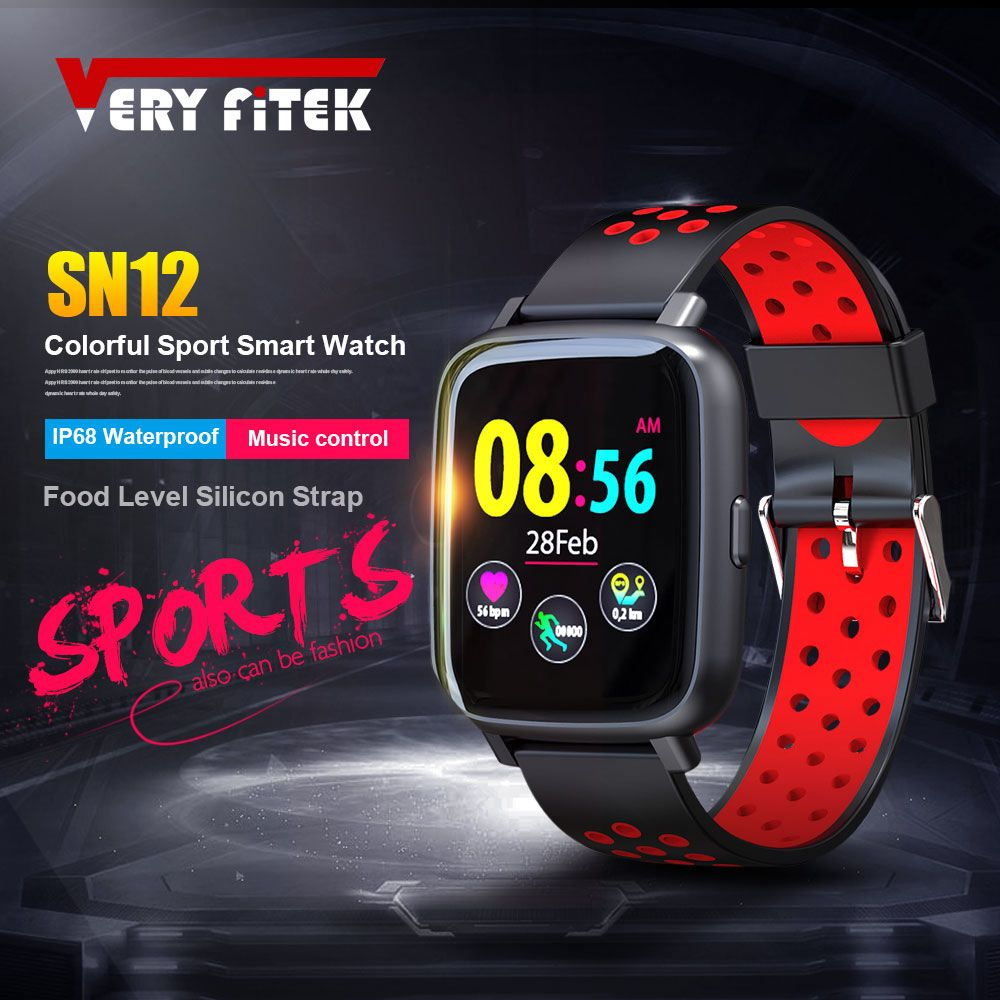 VERYFiTEK SN12 Smart Watch IP68 Waterproof Heart Rate Monitor Blood Pressure Bluetooth Smartwatch Men Women Sport Fitness Watch
