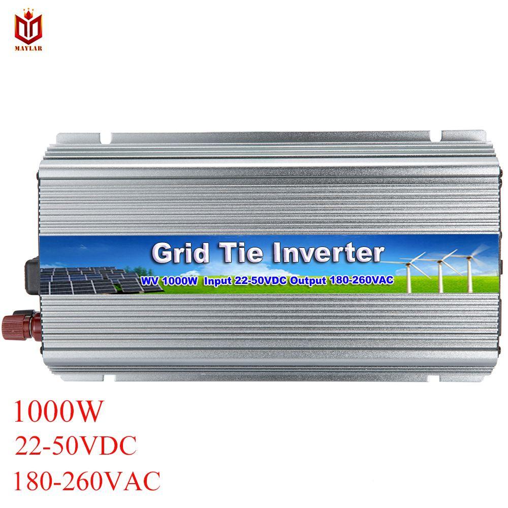 MAYLAR 1000 watt 22-50VDC zu 90-260VAC Rein Sinus Grid Tie Micro Inverter Für Vmp30V/36 v Solar Panels, fabrik Outlet