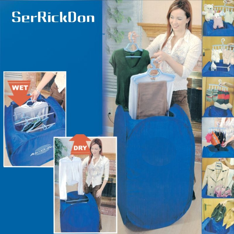 Mini Blue Portable Electric Air Clothes Dryer Folding Fast Drying Machine 800W Multipurpose