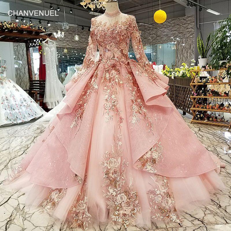 LS320400 rosa spezielle dubai puffy party kleider high neck long ärmel tüll lace up zurück abendkleider können für muslimischen
