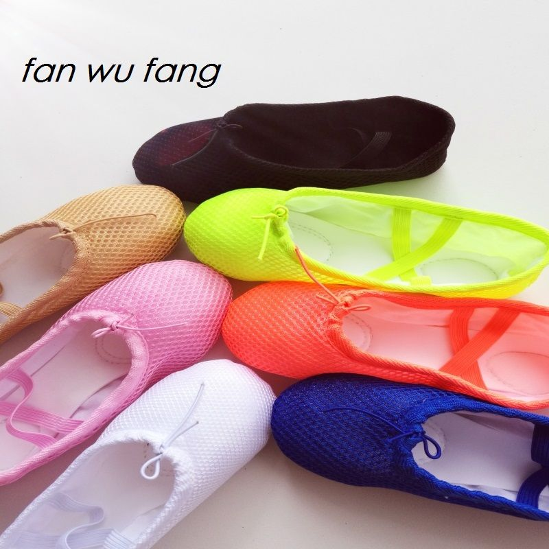 fan wu fang 2017 New Air Mesh Soft Ballet Shoes Colorful Performance Dance Shoes Breathing Yoga Shoes According The CM To Buy