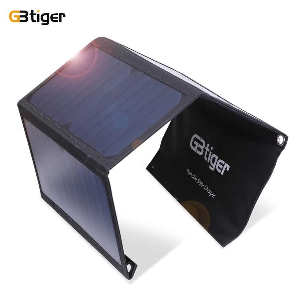 GBtiger 21W Dual USB Portable Sunpower Solar Charger Panel Power Emergency Water Resistant Folding Charging Bag for Phone Tablet