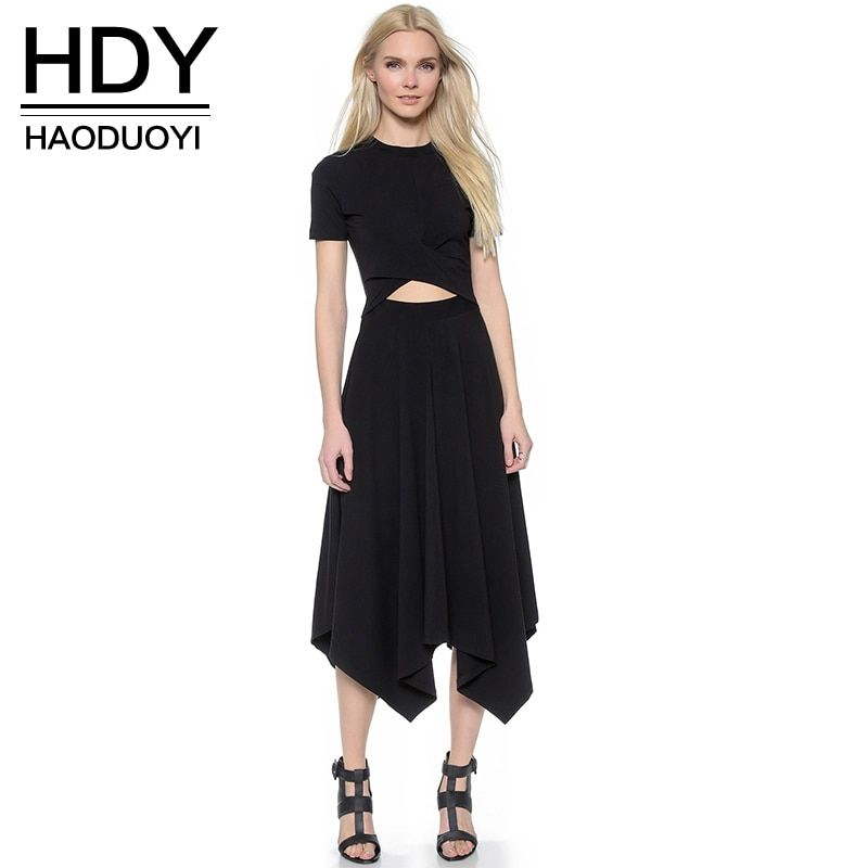 Haoduoyi Womens Summer O-Neck Short Sleeve Hollow Out Irregular Dress Sexy Party Solid High Waist <font><b>Thin</b></font> Dresses for wholesale