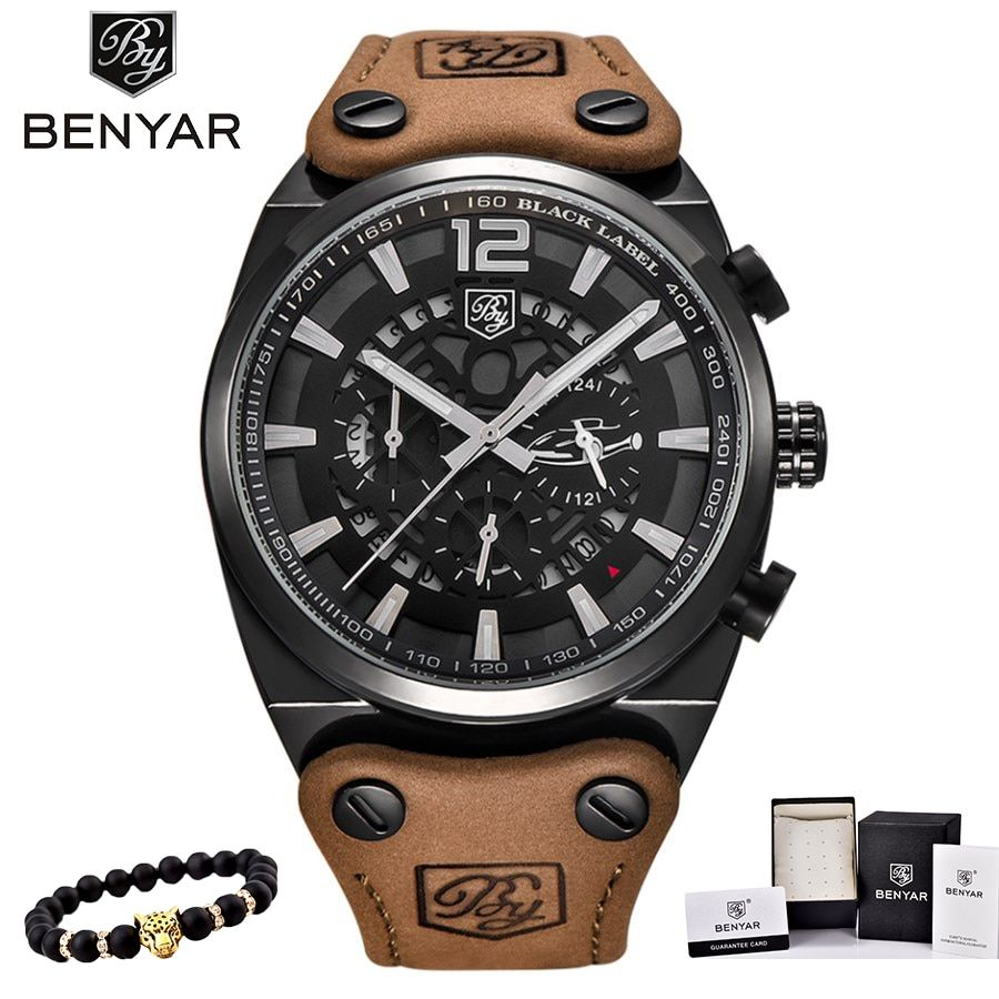 BENYAR Mens Watches Military Army Chronograph Watch Brand Luxury Sports Casual Waterproof Male Watch Quartz Man Wristwatch XFCS