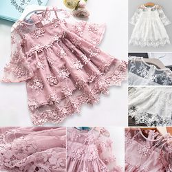 2019 Summer Girl Clothes Kids Dresses For Girls Lace Flower Dress Baby Girl Party Wedding Dress Children Girl Princess Dress