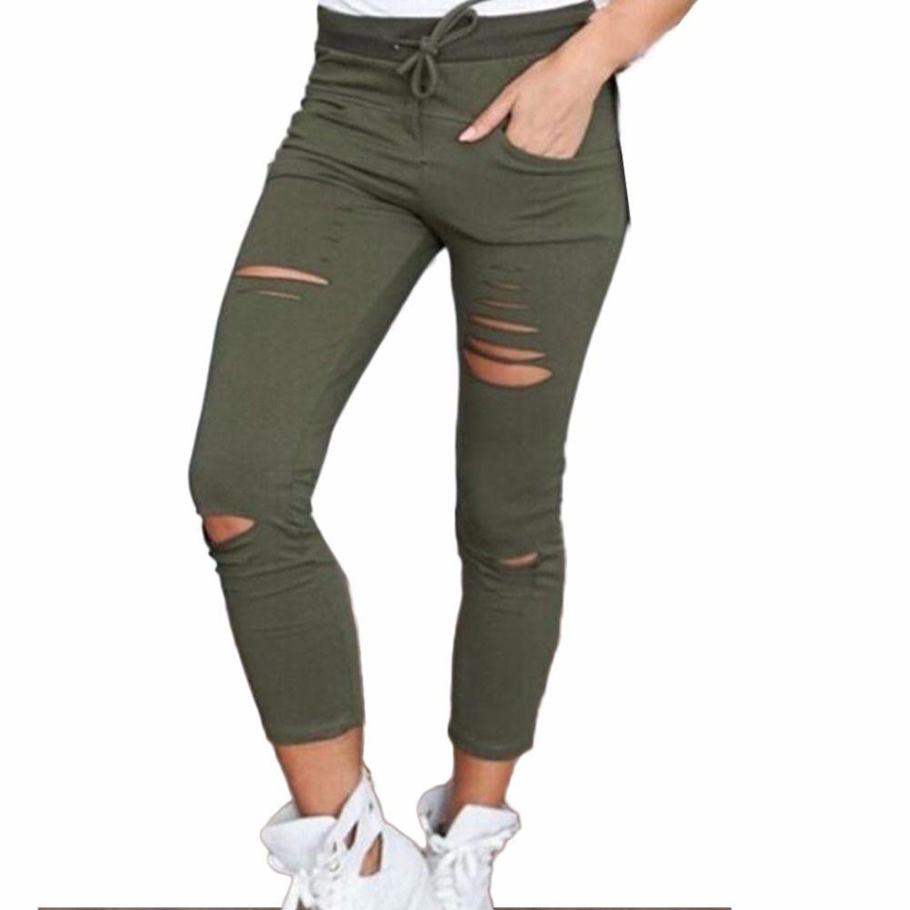 2019 Women Fashion Cotton Hole Pencil Pants Skinny Nine Points Pants High Waist Stretch Jeans Slim Pencil Trousers Capris Hot