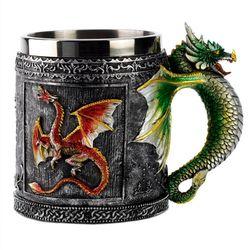 Двойная Стенка из нержавеющей стали 3D череп кружки летающий дракон Питьевая кружка чашка домашний офисный стол Декор Geek кофейная чашка Рож...