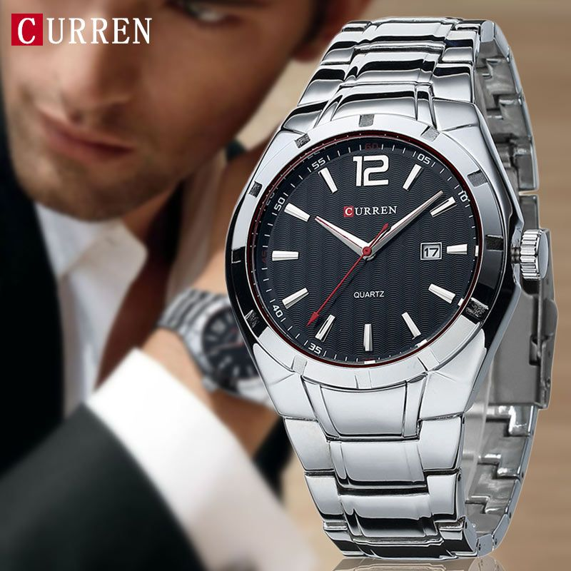 2019 CURREN hommes montres Top marque de luxe en acier inoxydable bracelet montres de sport montre étanche Relogio Masculino xfcs