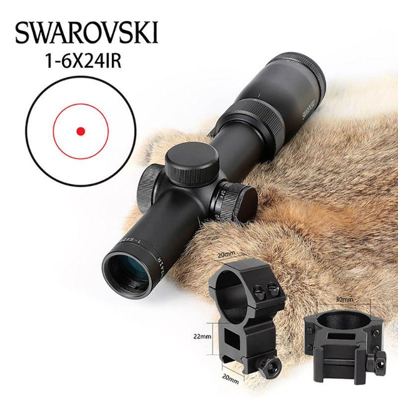 Taktische Nachahmung Swarovskl Kreis Dot Zielfernrohr 1-6x24 IR Zielfernrohr Optical Scope Red Dot Absehen Anblick Jagd Zielfernrohre
