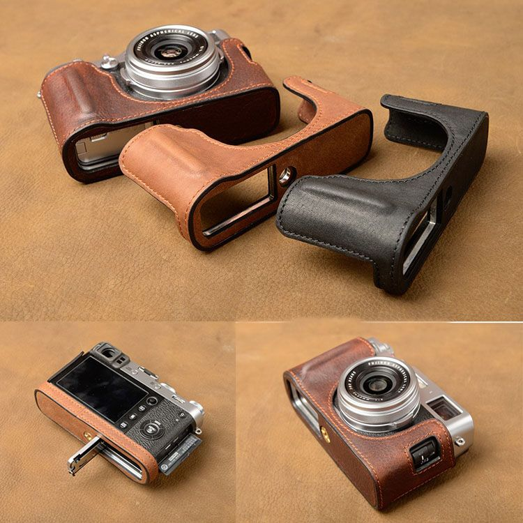 Aydgcam marca Cuero auténtico bolso de la caja de la Cámara medio hecho a mano Cuerpo cubierta para Fujifilm x100f x100-f apertura de la batería