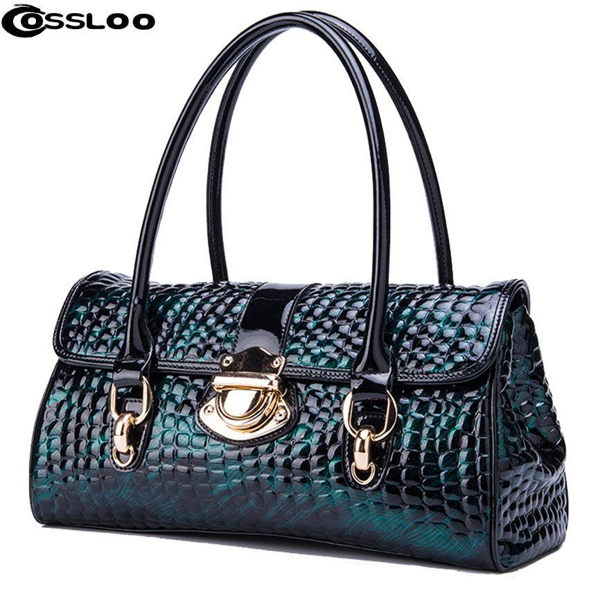 COSSLOO Luxury Genuine Leather bag women fashion alligator real cow leather designer handbags bags handbags women famous brands