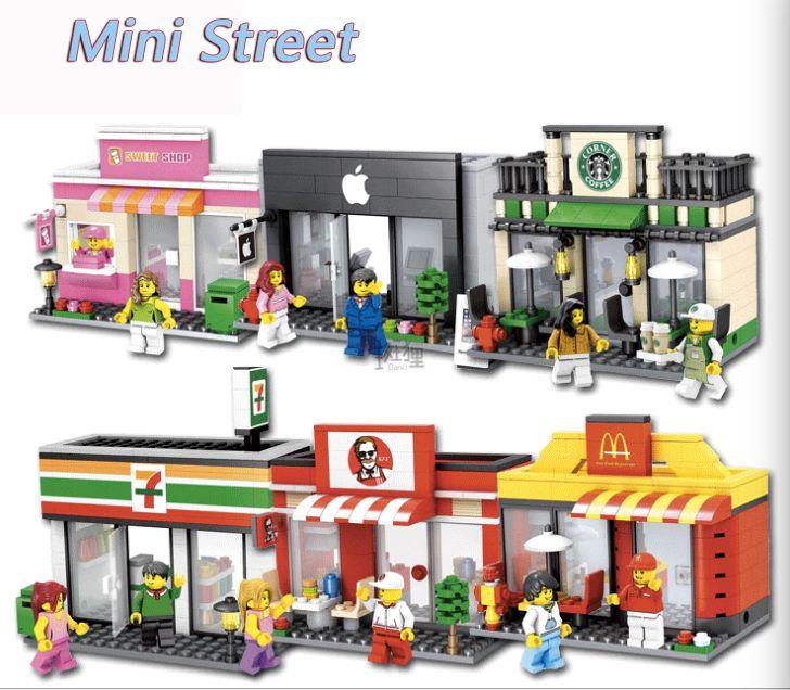 Serie de la ciudad Mini Calle Modelo de tienda de la Tienda de muñecas mini de Apple legoings Tienda mcdonald regalo Compatible Bloques de Construcción para niños