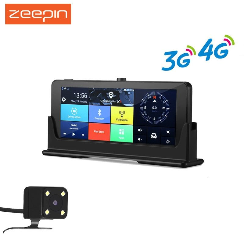 ZEEPIN 4G/3G WiFi Car DVR Dash Cam GPS Navigation 7 Inch Android Large Touch Screen HD 1080P Rearview Camera Multimedia Player