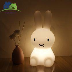 Nouveau Style Lapin LED Lumière de Nuit Pour Enfants Bébé Enfants De Chevet Lampe Multicolore Silicone Tactile Capteur Veilleuse Décoration De La Maison
