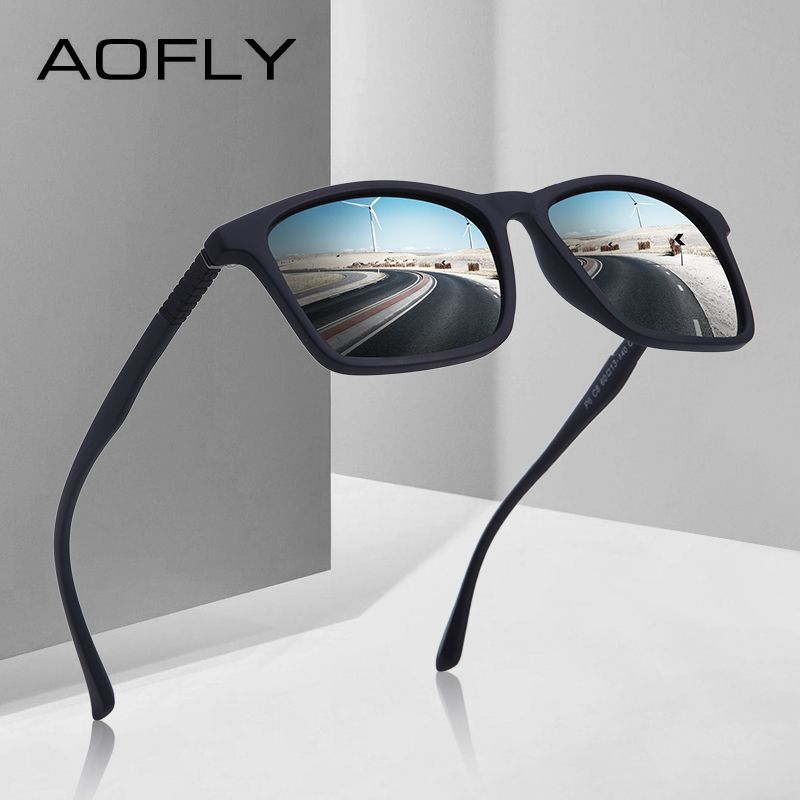 AOFLY MARKE DESIGN Mode Polarisierte Sonnenbrille Männer Ultraleicht TR90 Quadratischen Rahmen Sonnenbrille Männlich Fahren Brille UV400 AF8086