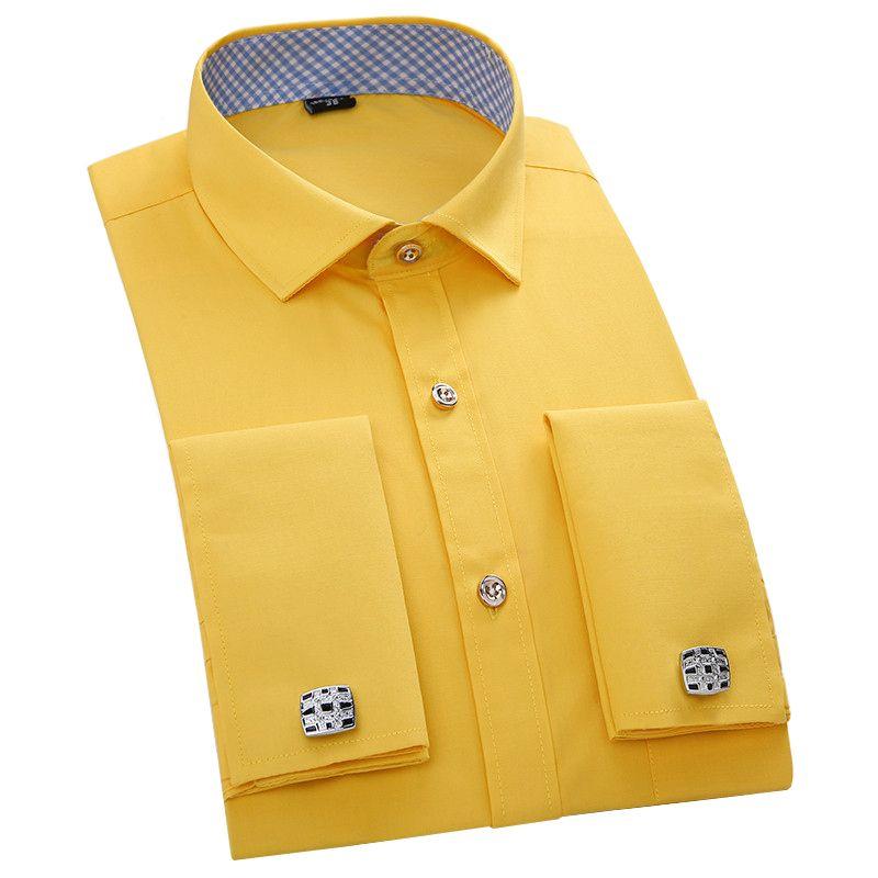 Бренд Высокое качество Новый Мода 2017 г. французский запонки мужские рубашки рубашка Slim Fit с длинным рукавом Хлопок 4xl 6 видов цветов Бесплатн...
