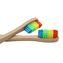 Genkent Colorful Head Bamboo Toothbrush Wholesale Environment Wooden Rainbow Bamboo Toothbrush Oral Care Soft Bristle
