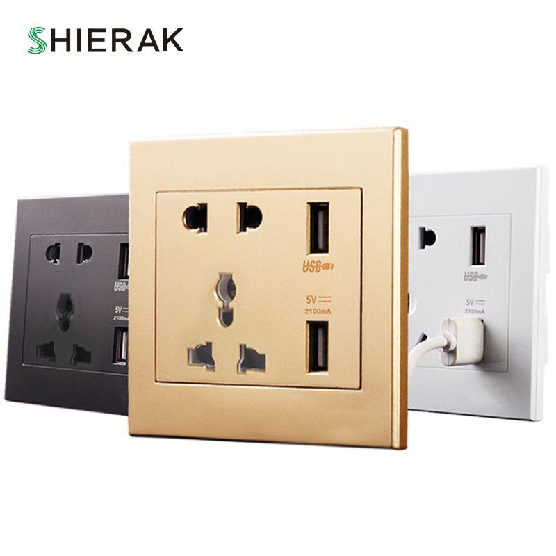 SHIERAK Universal Standard 2.1A USB Steckdose Home Wand Ladegerät 2 Ports USB Outlet Power Ladegerät Für Handy Weiß/ schwarz/Gold
