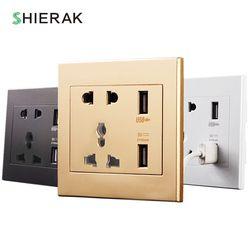 Shierak Универсальный Стандартный 2.1a USB розетки дома стены Зарядное устройство 2 Порты USB выход Мощность Зарядное устройство для телефона белый...