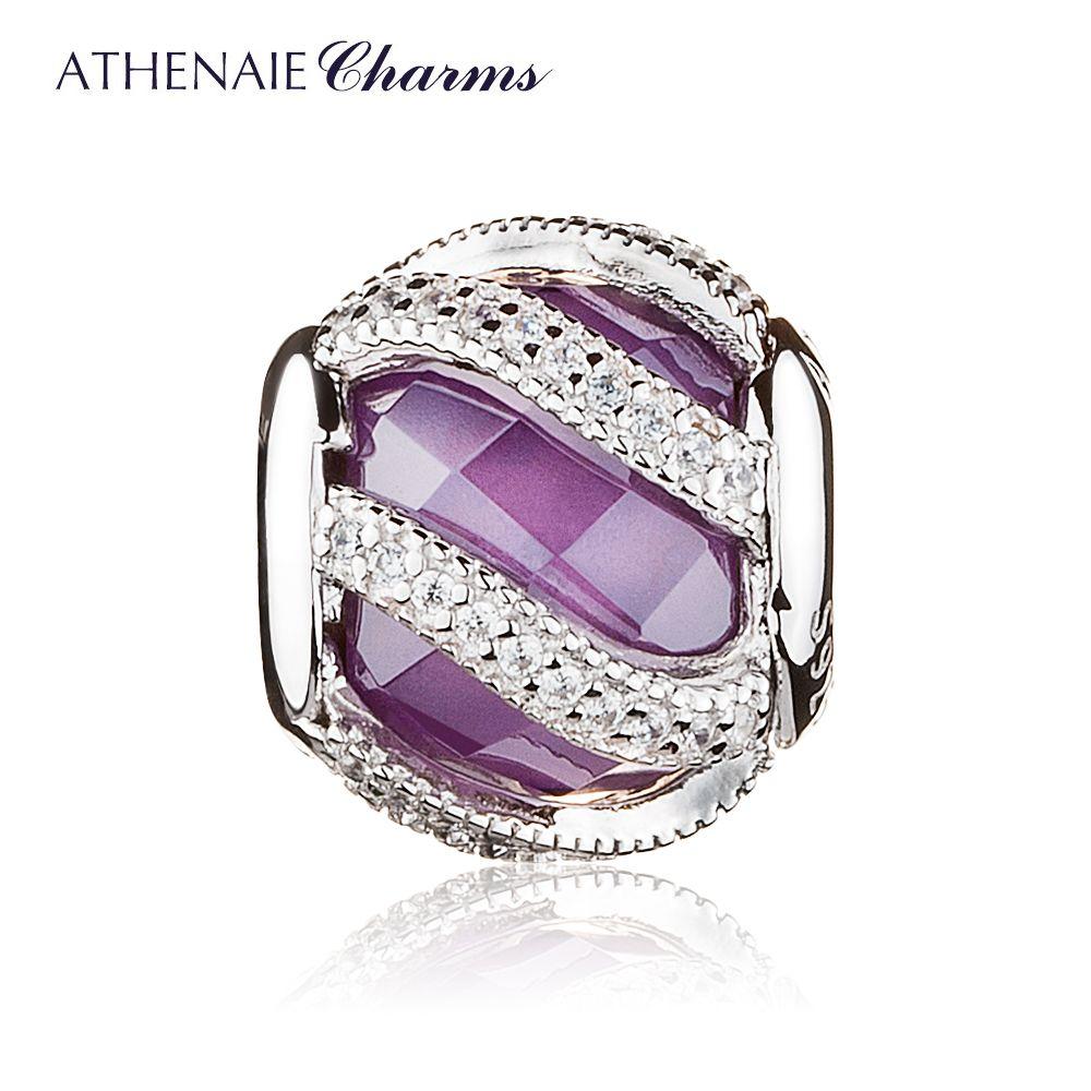 ATHENAIE 925 Sterling Argent Éclat de Nature Violet perles de charme Fit Pandora Original Bracelet Bracelet Authentique bijoux diy