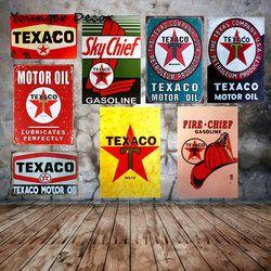 Ciel Chef Moteur Texaco Huile En Métal Tin Signes Rétro Vintage Accueil décor Garage Pub Bus Mur Art Artisanat Voiture Gazoduc En Métal Plaque YA073