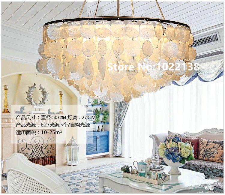 Mittelmeer natürliche Shell pendelleuchten für esszimmer Bar Neue runde Führte Lamparas Colgantes E27 Hand Knit lampe