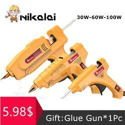 30 W 60 W 100 W Hot Melt Glue Gun dengan 1 pcs 7mm/11mm daya Gluegun lem Tongkat Mini Industri Senjata Thermo Suhu Panas alat