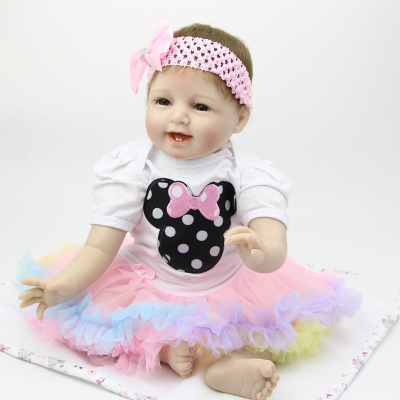 22Inch Reborn Baby Doll Lifelike Alive Girl Doll Realistic Supernatural Doll With Beautiful Dress For New Year Xmas Gifts