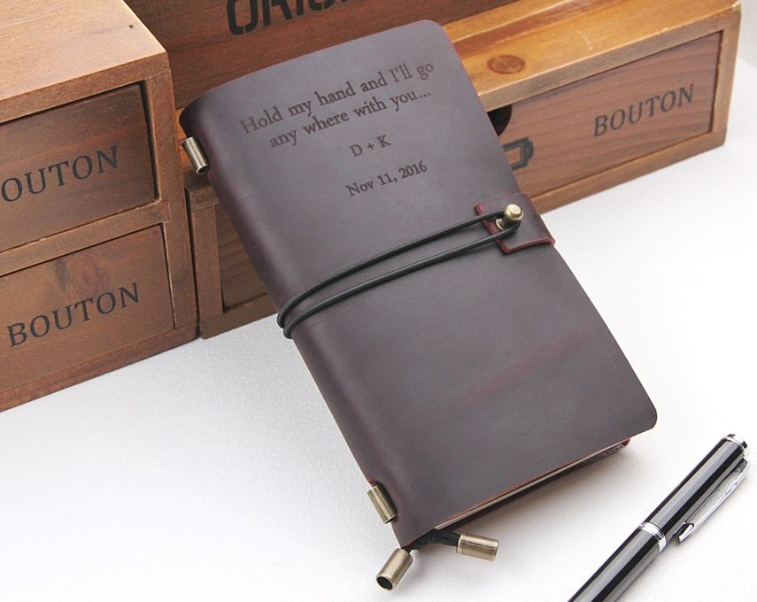 Leather Journal Notebook Custom, Handmade Vintage Refillable Travel journal, Leather Traveler's notebook Cover, Custom Text