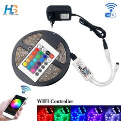 HBL 4M 5M 5050 RGB LED Strip 30 LEDs/m IP20 Led light 5050 8M 10M led ribbon with adapter and WIFI RGB led controller full kit