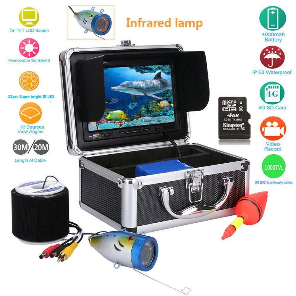 7 ''1000tvl HD Рыболокаторы Водонепроницаемый Рыбалка видео подводный Рыбалка Камера с инфракрасный свет DVR Дайвинг Камера ЕС Plug