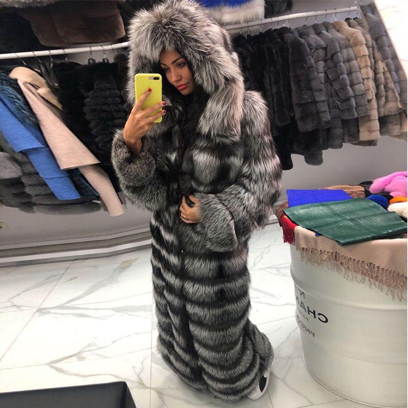 FURSARCAR Luxuriöse Solide Silber Fuchs Pelz Mantel Casual Frauen Echt Fox Pelz Jacke Unten Winter Pelz Haube X-Lange mäntel 2018 Plus Größe