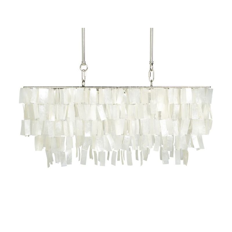 LED Chandelier Capiz Shell Rectangle Modern Lamp Loft Dinning Room