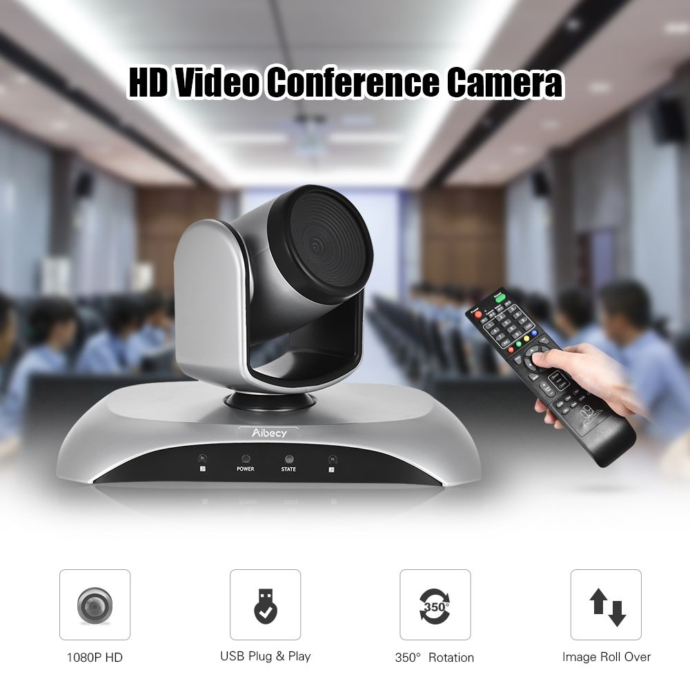 Aibecy 1080P HD Conference Camera USB Plug Play 350D Rotation Remote Control Power Adapter for Video Meetings Training Teaching