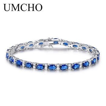 UMCHO Luxury Blue Sapphire Bracelets for Women Genuine 925 Sterling Silver Jewelry Romantic Wedding Birthstone Gemstone Jewelry