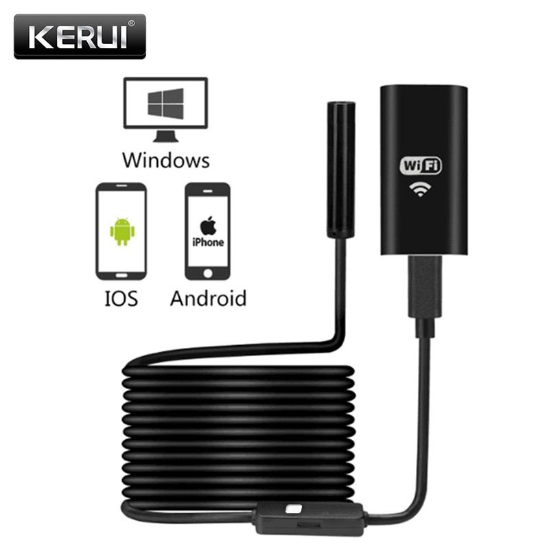 KERUI WIFI Endoscope Camera Mini Waterproof Soft Cable <font><b>Inspection</b></font> Camera 8mm 1M USB Endoscope Borescope IOS Endoscope For Iphone