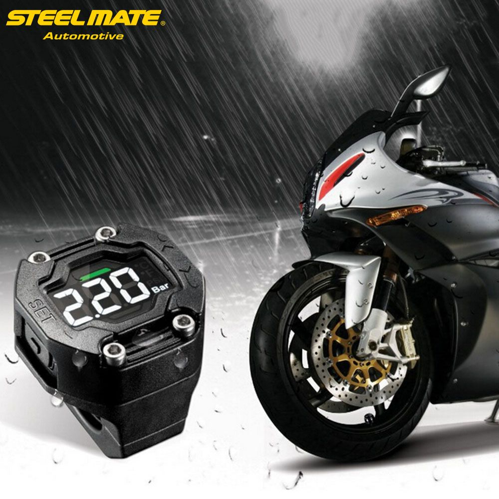 Steelmate ET-900AE DIY Motorcycle TPMS Tire Pressure Monitor Motorcycle Alarm System with External Sensor Wireless LCD Display