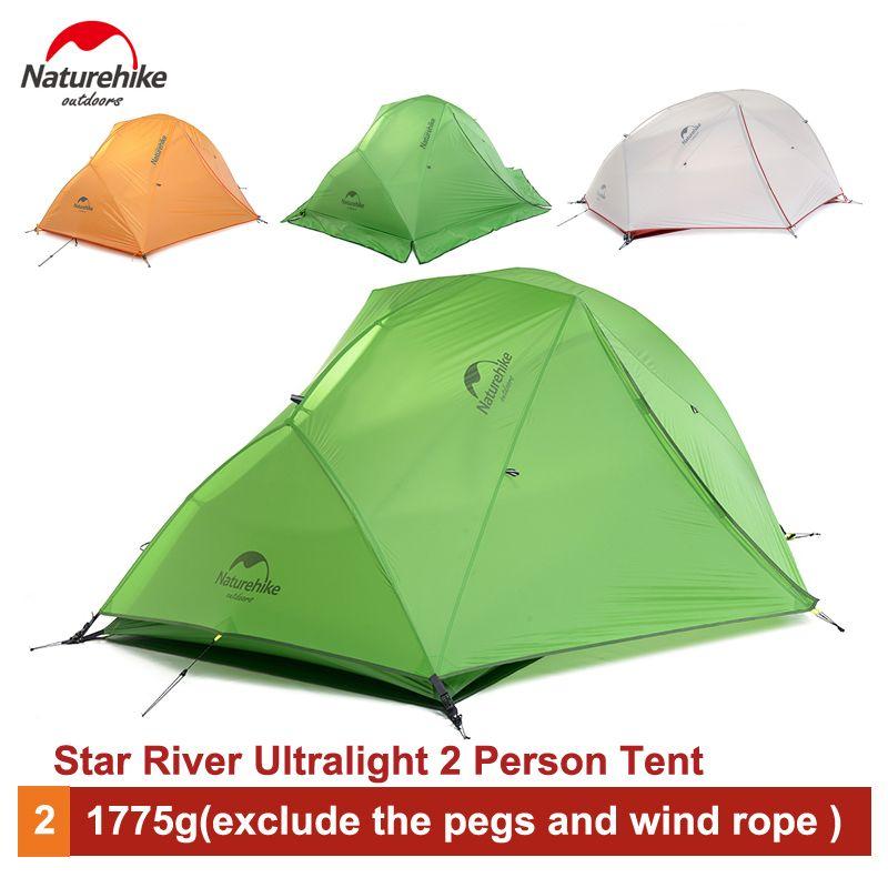 Naturehike 2 Person Ultralight Camping Zelt Wasserdicht 20D Silikon doppelschicht Zelt NH17T012-T