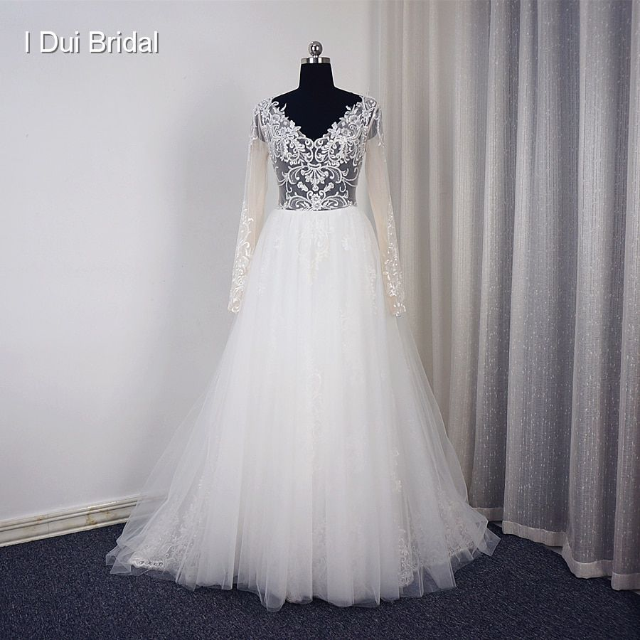 Vestido De Noiva V Neck Long Sleeve Wedding Dress Romantic Tulle Lace Illusion Corset High Quality