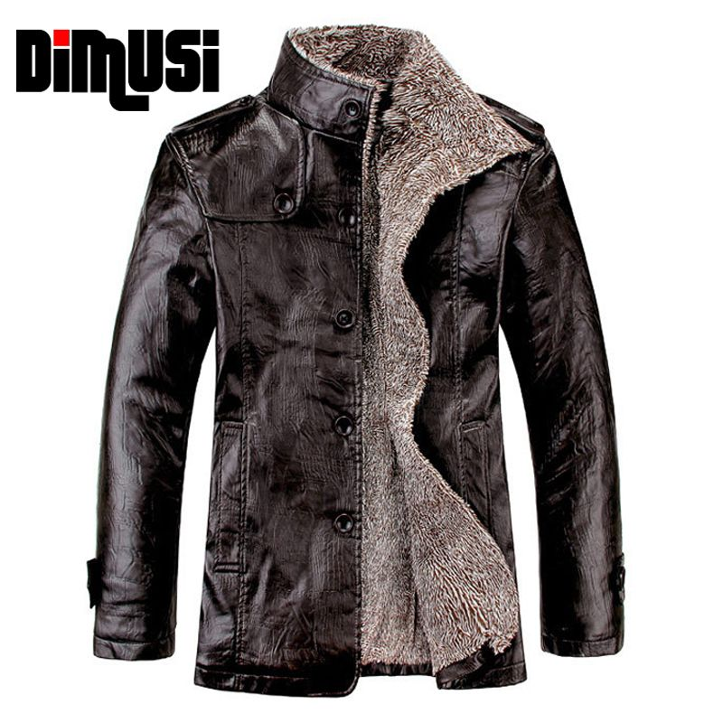 Leather Jacket Men Winter Thick Inner Wool PU Leather Coat Men Casual Thermal Stand CollarFaux Leather Coat Warm Jacket t,YA466