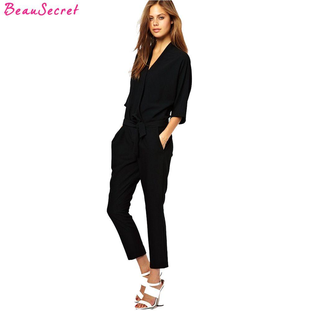 European and American fashion elegant lace chiffon jumpsuits piece pants 2017 summer autumn rompers womens jumpsuit black blue